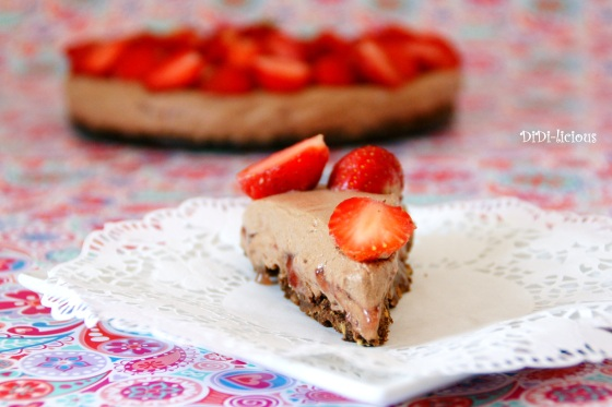 Choco Philly cheesecake with strawberries